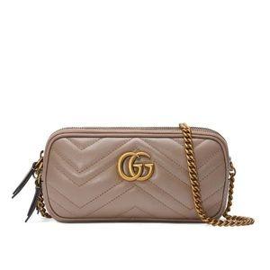Gucci Marmont mini bag pink with gildne chain